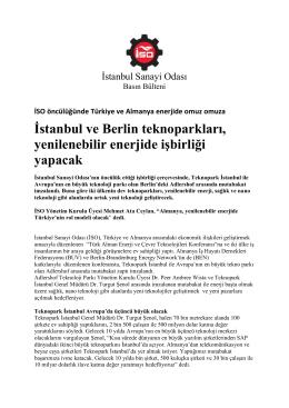 İstanbul ve Berlin teknoparkları, yenilenebilir enerjide işbirliği yapacak