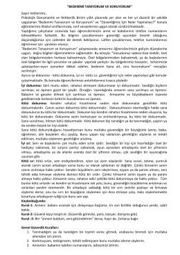 """""""BEDENİMİ TANIYORUM VE KORUYORUM"""" Sayın Velilerimiz"""