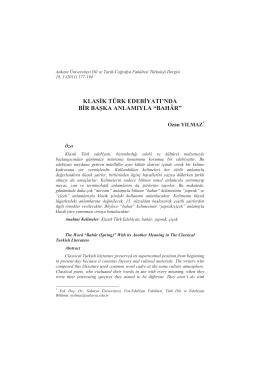 bahâr - Ankara Üniversitesi Dergiler Veritabanı