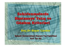 Zehirlenmelerde Hastaneye Yatış ve Gözlem Kriterleri