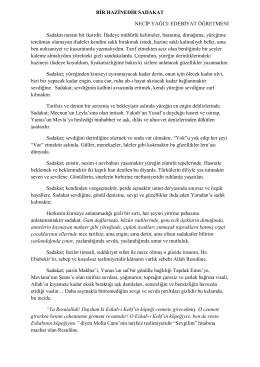 BİR HAZİNEDİR SADAKAT NECİP YAĞCI/ EDEBİYAT