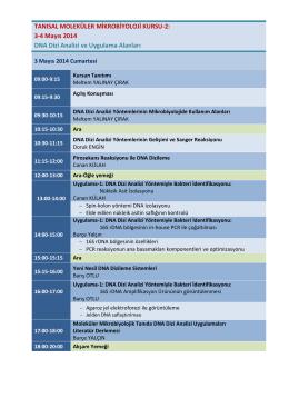 3-4 Mayıs 2014 DNA Dizi Analizi ve Uygulama Alanları