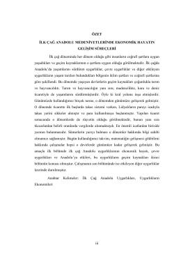 İlk Çağ Anadolu Medeniyetlerinde Ekonomik Hayatın Gelişim Süreçleri
