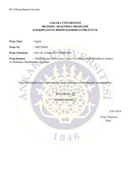 EK-11Sonuç Raporu Formatı ANKARA ÜNİVERSİTESİ BİLİMSEL