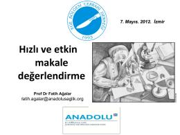makale nasıl okunur ege cerrahi derneği, mayıs 2012