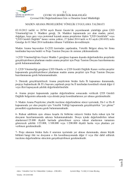 Maden Arama Uygulama Talimatı - Çevre ve Şehircilik Bakanlığı