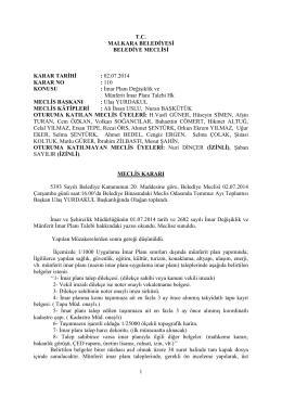 Karar No - 110 : İmar Planı Değişikliği ve Münferit İmar Planı Talebi Hk.
