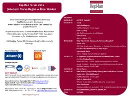 RepMan Forum 2015 Şirketlerin Marka Değeri ve İtibar Riskleri