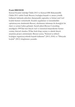 Frank BRESSER Küresel Koçluk Liderliği Ödülü 2013 ve