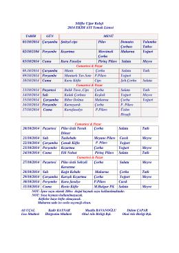 Silifke Uğur Koleji 2014 EK M AYI Yemek Listesi 01/10/2014