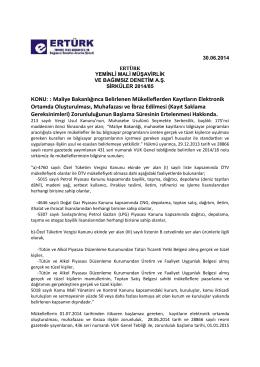 85-Maliye Bakanlığınca Belirlenen Mükelleflerden Kayıtların