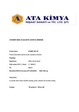 ATAMER 4001 ES (ELASTIC ACRYLIC BINDER)