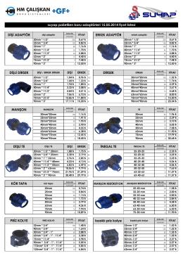 ERKEK ADAPTÖR suyap polietilen boru adaptörleri 15.05.2014 fiyat