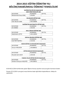 2014-2015 eğitim-öğretim yılı bölüm/anabilimdalı öğrenci temsilcileri
