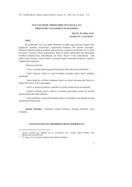 M.Ü. Atatürk Eğitim Fakültesi Eğitim Bilimleri Dergisi Yıl : 2003, Sayı