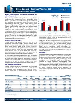 Bütçe Dengesi – Temmuz/Ağustos 2014