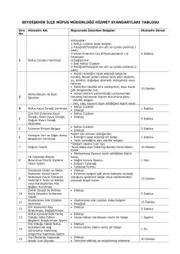 seydişehir ilçe nüfus müdürlüğü hizmet standartları tablosu