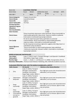 Ulaştırma Yönetimi - Gediz Üniversitesi