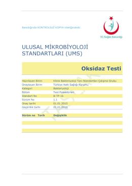 Oksidaz testi - Türkiye Halk Sağlığı Kurumu
