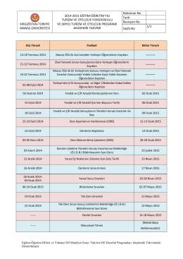 2014-2015 Turizm ve Otelcilik YO ve (MYO)