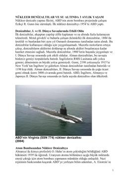 Nükleer Denizaltılar Ve Su Altında 3 Aylık Yaşam