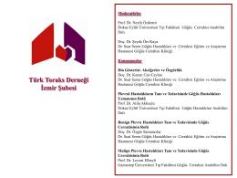 """TÜRK TORAKS DERNEĞİ İZMİR ŞUBESİ """"PLEVRA"""