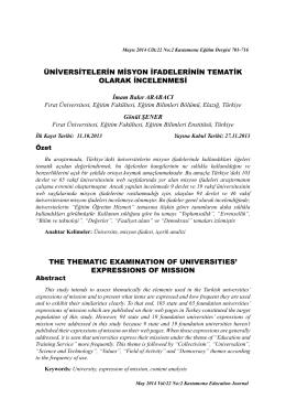 üniversitelerin misyon ifadelerinin tematik olarak incelenmesi the
