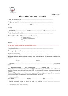 Lisans Sınavı Aday Başvurusu - Form No 4