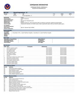 BIP203 Görsel Programlama - II - Gümüşhane Meslek Yüksekokulu