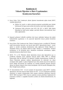 Komisyon 11 Yüksek Öğretim ve Burs Uygulamaları Komisyonu