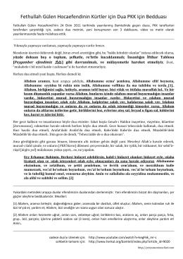 Fethullah Gülen Hocaefendinin Kürtler için Dua