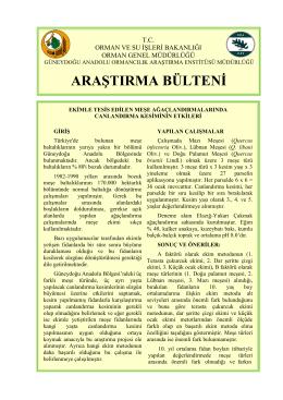 GDA. Arşt. Bülteni 002 - Batı Karadeniz Ormancılık Araştırma
