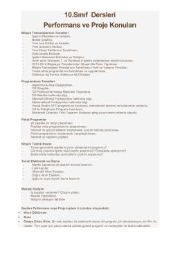 10.Sınıf Dersleri Performans ve Proje Konuları