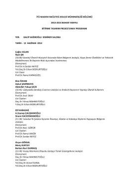 itü maden fakültesi jeoloji mühendisliği bölümü 2013