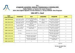 204-HİT 1. Sınıf - Ataşehir Adıgüzel Meslek Yüksekokulu