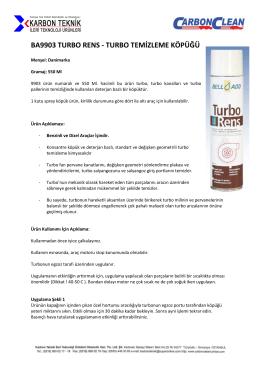 BA9903 TURBO RENS - TURBO TEMİZLEME KÖPÜĞÜ