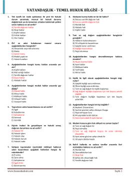 VATANDAŞLIK - TEMEL HUKUK BİLGİSİ - 5