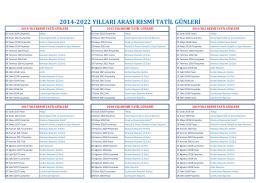 2014-2022 yılları arası resmi tatil günleri
