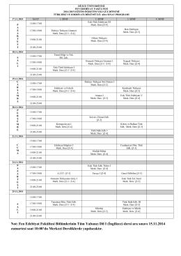 (İngilizce) dersi ara sınavı 15.11.2014 cumartesi saat 10:00