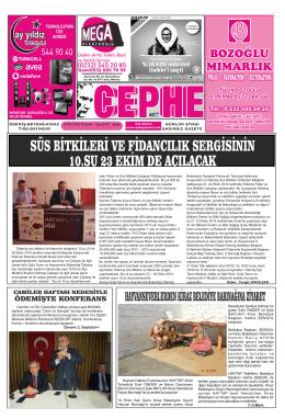 16.10.2014 Tarihli Cephe Gazetesi