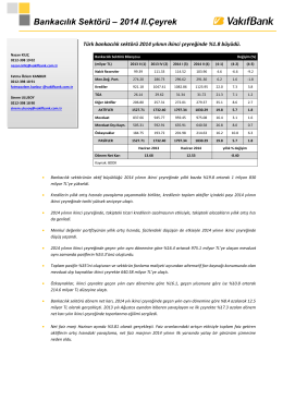 2014 2.Çeyrek Bankacılık Sektör Raporu