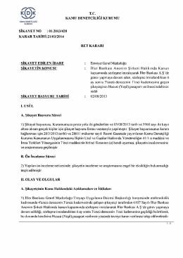 T.C KAMU DENETÇİLİĞİ KURUMU ŞİKAYET NO : 01.2013/428