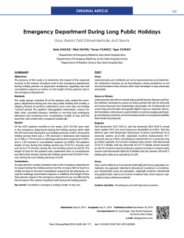 Emergency Department During Long Public Holidays
