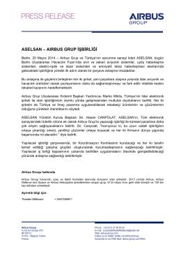 aselsan – aırbus grup işbirliği