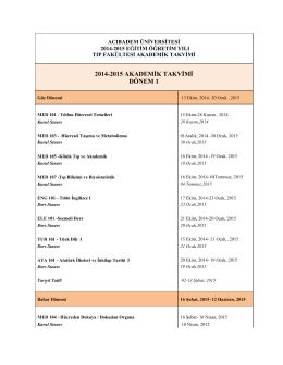 2014-2015 Tıp Fakültesi Akademik Takvimi