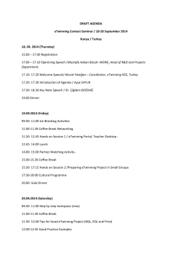 DRAFT AGENDA eTwinning Contact Seminar / 18
