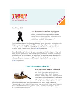 TÜSEV e-bülten sayı 79, Mayıs 2014