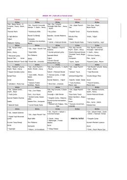 ARALIK AYI / Kahvaltı ve Yemek Listesi