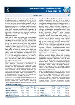 Haftalık Ekonomi ve Finans Bülteni 8 Eylül 2014