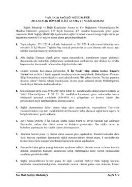 Van Halk Sağlığı Müdürlüğü Sayfa 1 / 2 VAN HALK SAĞLIĞI